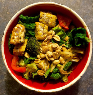 Roasted peanut teriyaki and tempeh vegetables on soba noodles