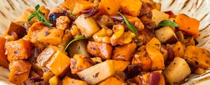 Sweet Potato Skillet with Walnuts and Pears