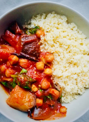 Slow Cooker Middle Eastern Chickpea Eggplant Stew