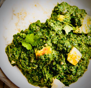 100% Vegetable Creamy Palak Paneer - Indian Spinach Curry