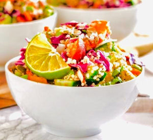 Quinoa salad with lime and coconut