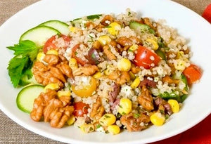 Summer salad of quinoa and walnuts