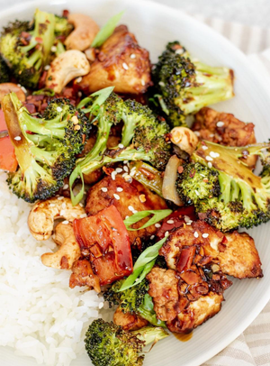 Asian Tofu with Cashews on a Plate
