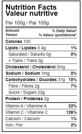 nutrition facts table Organic hippocrate organic chopped mangoes