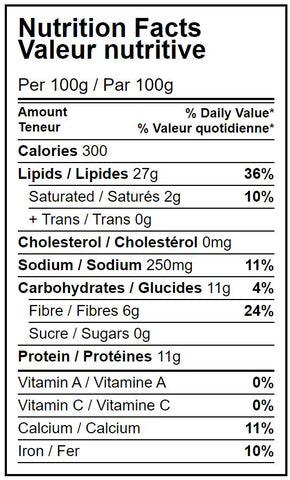 Nutrition facts table organic dry roasted almonds with sea salt Hippocrates Bio