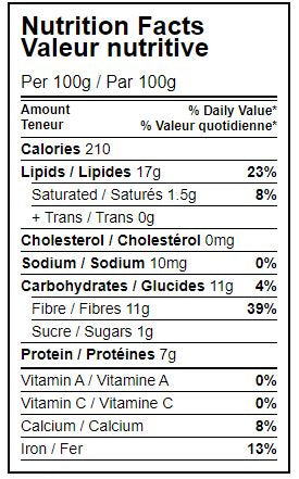 Nutrition Facts Table Organic Golden Flax Seeds Organic Hippocrates