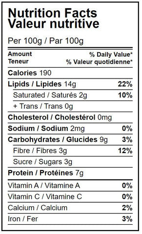 Nutrition facts table organic dry roasted peanuts Hippocrate Bio
