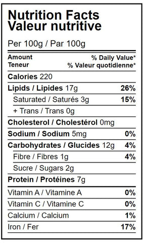 Hippocrate Organic Raw Organic Cashew Nutritional Facts Table