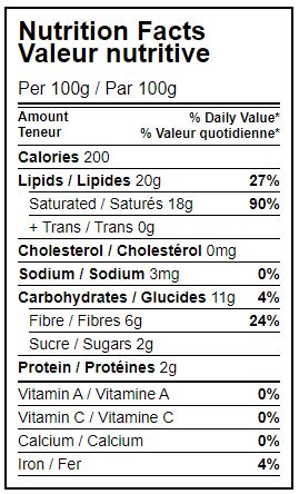 nutrition facts table Sliced ​​grilled coconut Organic Hippocrates organic
