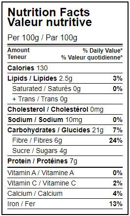 Nutritional value table Organic dry chickpeas hippocrates organic