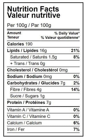 Nutrition facts table Organic natural almonds Hippocrate Bio