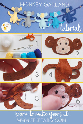 How to sew your own felt monkey garland
