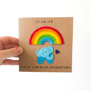 Rainbow Baby Elephant Card