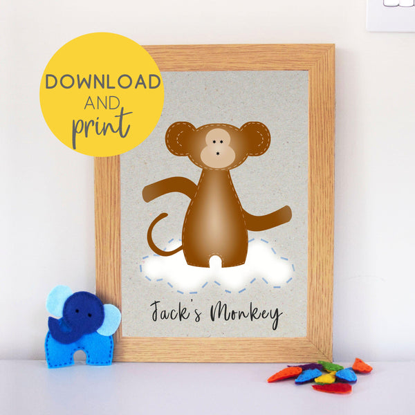 Download and print monkey nursery art