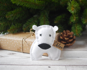Felt Polar Bear Christmas Tree Decoration