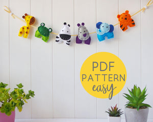 Felt Animal Garland PDF Downloadable Pattern