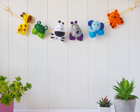Felt Jungle Animals Garland
