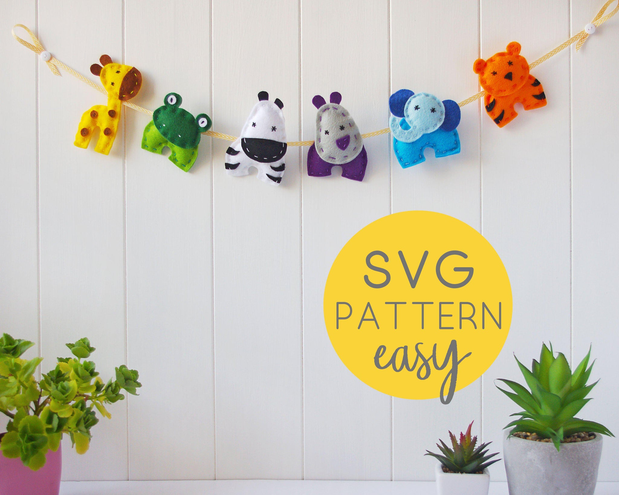 Felt Animal Garland SVG Pattern