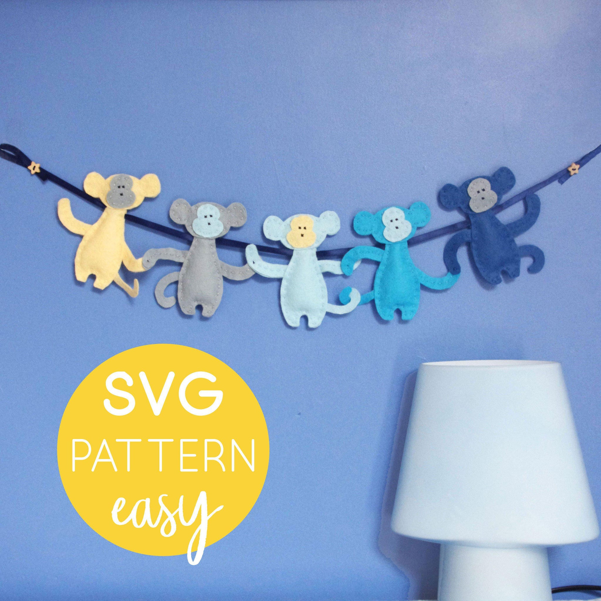 Felt Monkey Garland SVG Cut File