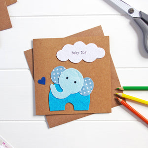 Elephant New Baby Boy Card