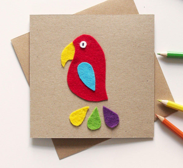 Colourful parrot greetings card