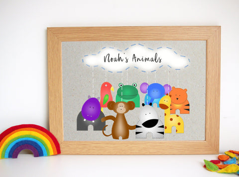 Personalised Animal Nursery Art Print
