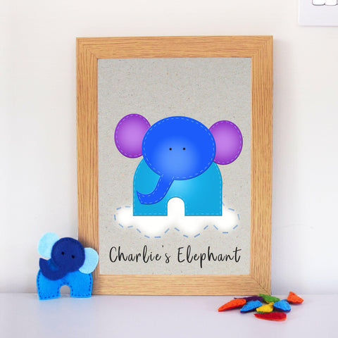 Noisy Little Elephant Nursery Art Print