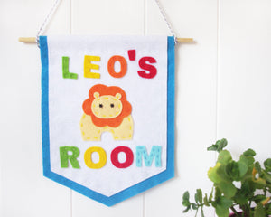 Personalised lion nursery banner