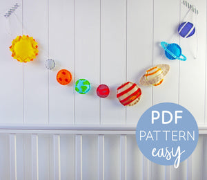Planets Garland - PDF Felt Pattern Download