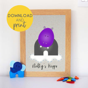 Hippo Nursery Art Printable