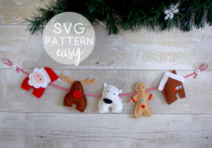 Felt Christmas Garland - Downloadable SVG Pattern