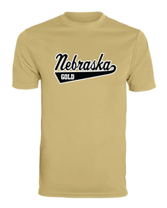 "Nebraska Gold - ""Swoosh"" Moisture Wicking Short Sleeve T-Shirt"