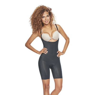 1272 Mid Thigh Bodysuit Shaper Short Booty Lifter OpenBust