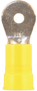 Ring Terminal - Nylon Insulation - Yellow - 4 Gauge