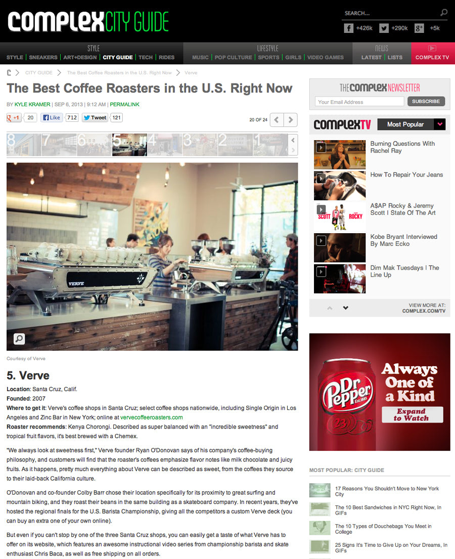Complex - The Best Coffee Roasters in the U S  Right Now | Verve