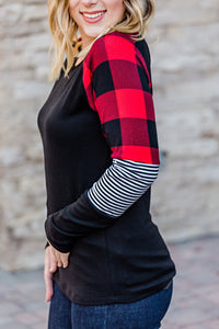Stripes and Plaid Long Sleeve Top