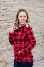 Load image into Gallery viewer, Buffalo Plaid and Stripes Half Zip Hoodie