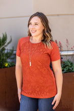 Load image into Gallery viewer, Lace Front Tee - Pumpkin