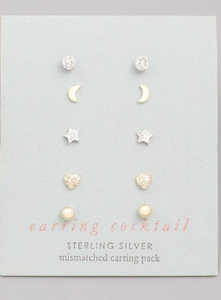 Fun Stud Earring Set- Sterling Silver
