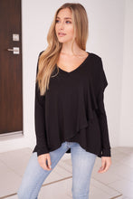 Load image into Gallery viewer, The Sophisticated Ruffle Top in Black