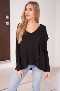 The Sophisticated Ruffle Top in Black