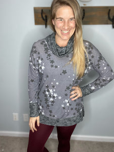 Shine Through the Darkness Cowl Neck Top