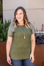 Load image into Gallery viewer, Juliet Lace Front Tee - Olive