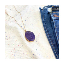 Load image into Gallery viewer, Styled With Druzy Necklace in Purple