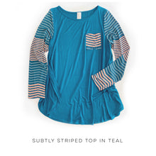 Load image into Gallery viewer, Subtly Striped Top in Teal
