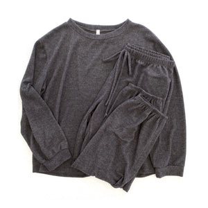 Warm for the Winter Lounge Top in Charcoal