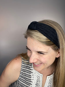 Knotted Up Black Wool Headband