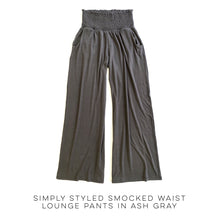 Load image into Gallery viewer, Simply Styled Smocked Waist Lounge Pants in Ash Gray