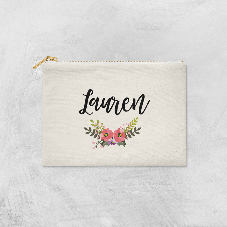 Personalized Name Floral Make Up Bag