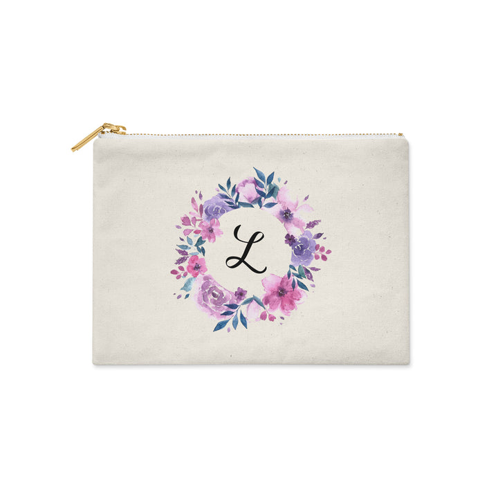 Personalized Initial Purple Watercolor Floral Make Up Bag